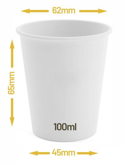 Kubek jednowarstwowy biały 100ml